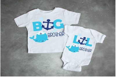 Big brother, little brother, nautical, anchor, brother shirts