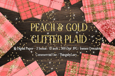 16 Luxury Gold and Peach Glitter Plaid Tartan Digital Papers