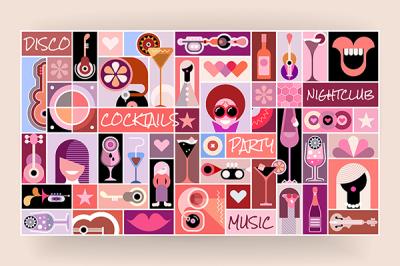 Disco Party pop art vector illustration