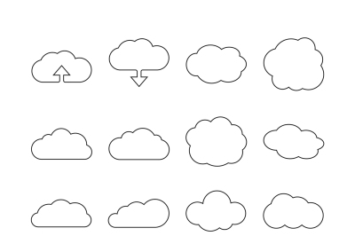 Cloud line web icons for cloud computing