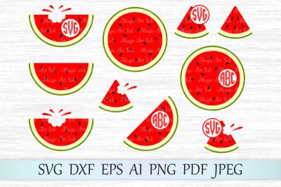 Watermelon monogram SVG, DXF, EPS, AI, PNG, PDF, JPEG