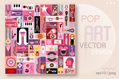 Pop Art Vector Design, music collage
