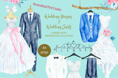 Watercolor wedding outfit, hanger and hook personalised print creator