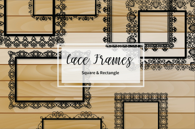Black Lacy square and rectangle Frames