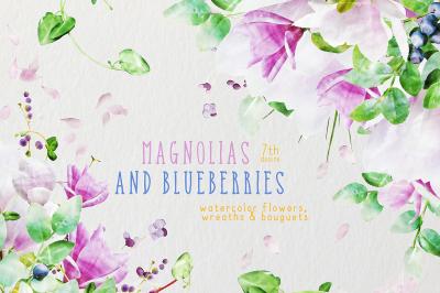 Watercolor Flowers - Magnolias