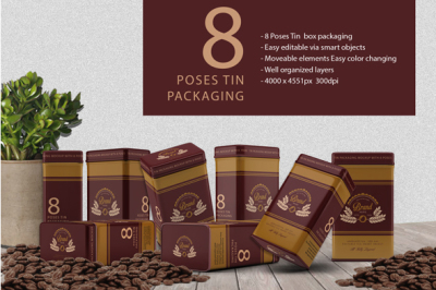 8 Pose Tin Packaging Mockup