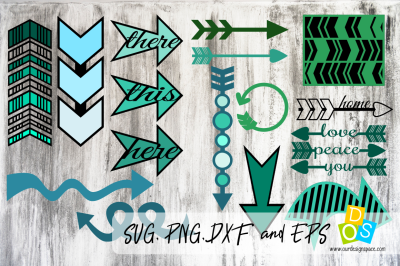 SVG, PNG, DXF and EPS Arrow Pack