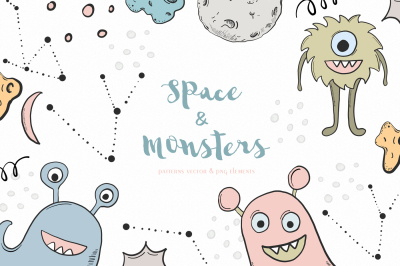 Spase & monsters clipart