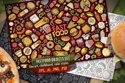 Fast Food Objects & Elements Set