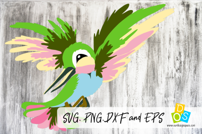 SVG, PNG, DXF and EPS Hummingbird