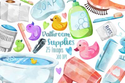 Watercolor Bathroom Supplies Clipart