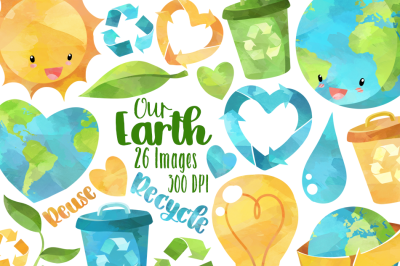 Watercolor Earth Day Clipart