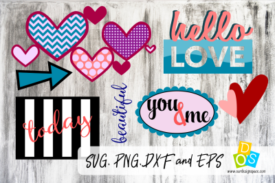 SVG, PNG, DXF and EPS Love Bundle