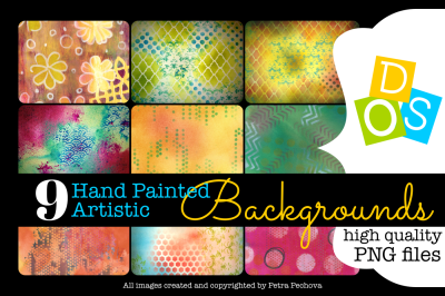 9 Hand Painted Artistic Backgrounds PNG files