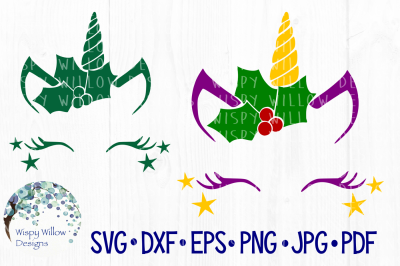 Christmas Unicorn, Holly, SVG/DXF/EPS/PNG/JPG/PDF