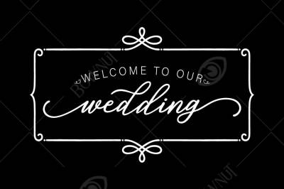 Simple Welcome to our Wedding sign - Stencil Design