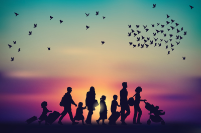 Emigration family sky and birds silhouette