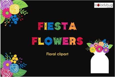 Fiesta Flowers. Floral clip art collection. Mexican flowers.