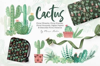 Cactus Succulent Watercolor Greenery Design Set