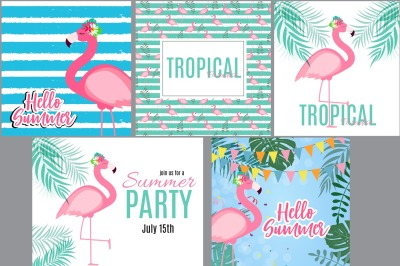 5 Abstract Summer Background with Flamingo and Palm Leaves. Vector