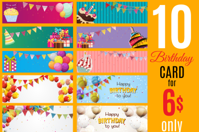 10 Color Glossy Happy Birthday Balloons Banner Background Vector