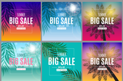 6 Abstract Summer Sale Backgrounds Collection Set. Vector illustration