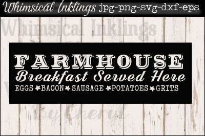 Farmhouse Breakfast Vintage Sign SVG