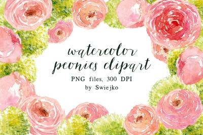 Watercolor Peonies Clipart set