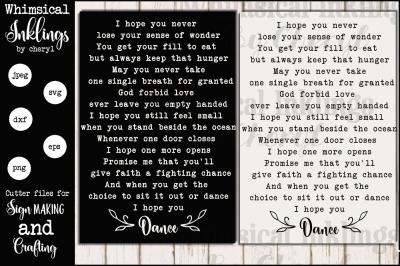 I Hope You Dance SVG