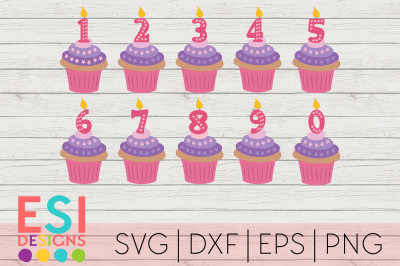 Cupcake Birthday Candle Numbers | SVG, DXF, EPS & PNG