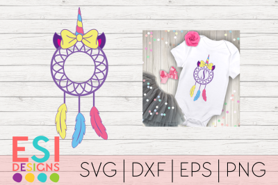 Unicorn Dream Catcher with Bow Design | SVG DXF EPS PNG