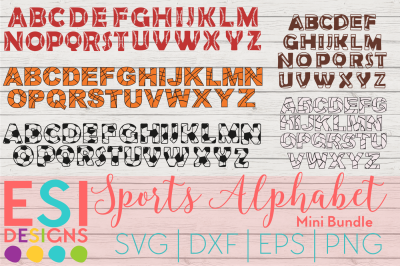 Sports Alphabet Design Mini Bundle | SVG, DXF, EPS & PNG