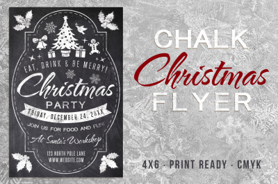 Chalk Christmas Flyer Template