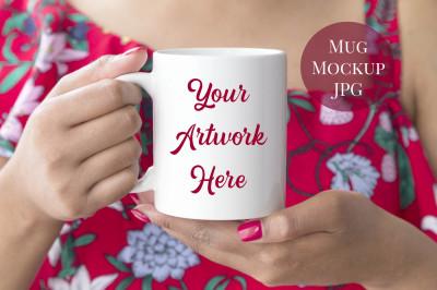 Woman holding mug mockup -summer
