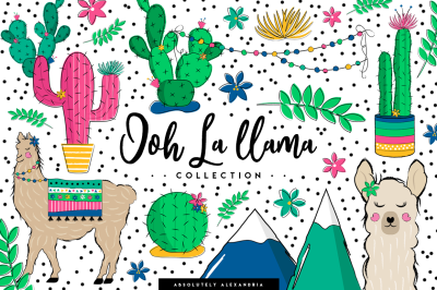 AA Ooh La llama Clipart Illustrations & Seamless Paper Patterns Bundle