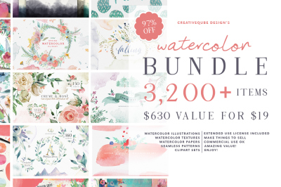Watercolor Graphics Bundle