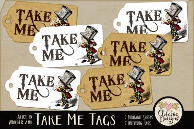 Mad Hatter Take Me Printable Tags