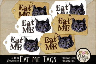 Eat Me Cheshire Cat Printable Tags