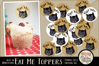 Eat Me Cheshire Cat Printable Cake Toppers