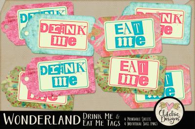 Alice in Wonderland Eat Me & Drink Me Printable Tags