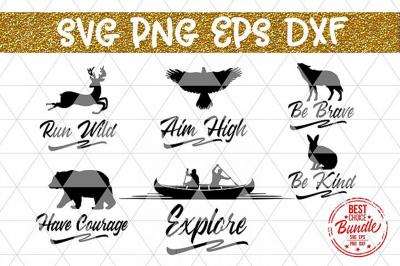 Inspirational Bundle SVG Cut Files, Wall Decor Sayings DXF PNG EPS