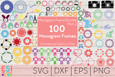 100 Circle Monogram Frame Bundle | PART 2 | SVG, PNG, DXF, EPS