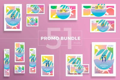 Design templates bundle | flyer, banner, branding | Hot Beach Party
