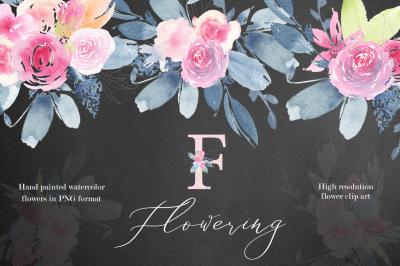 Flowering watercolor graphic set