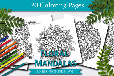 Floral Mandalas 20 Coloring Pages