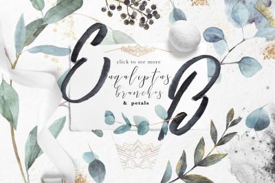 Eucalyptus  branches& petals