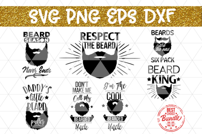 Beard Bundle SVG Cut Files, Hipster Beard Man Sayings DXF PNG EPS