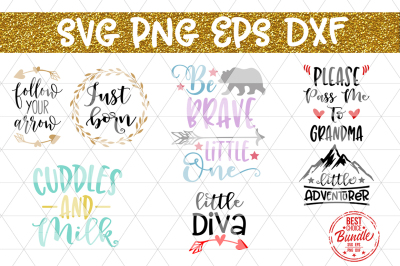 Cute Bundle SVG Cut Files, Baby Shower Newborn DXF PNG EPS