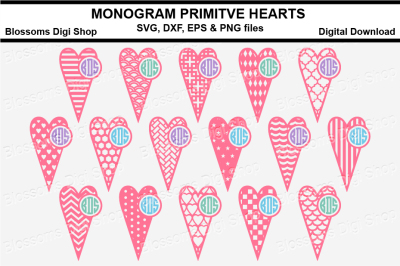Monogram Primitive heart bundle SVG, DXF, EPS and PNG files