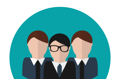 Business team. Concept vector icon. Group with leader.